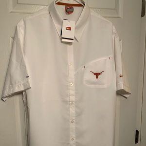 White Texas Long Horn short sleeve button down.